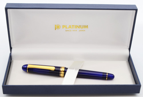 Platinum 3776 Century Fountain Pen - Chartres Blue w Gold Trim, 14k Extra Fine Nib (Excellent in Box, Works Well)
