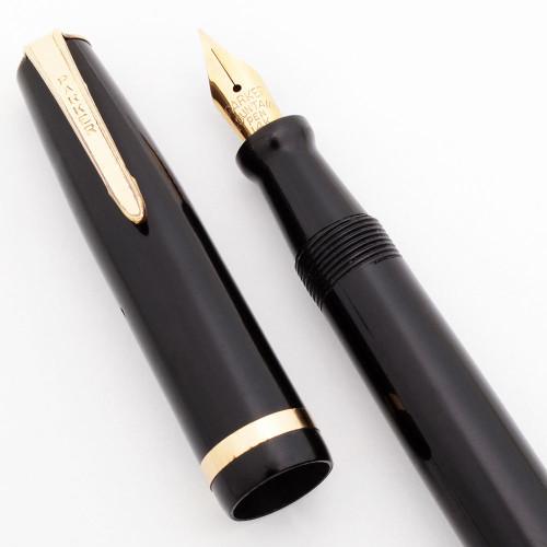 Parker Challenger Fountain Pen (Canada) - Black w/GT, Button Filler, Fine 14K Flexible Nib (Excellent, Restored)