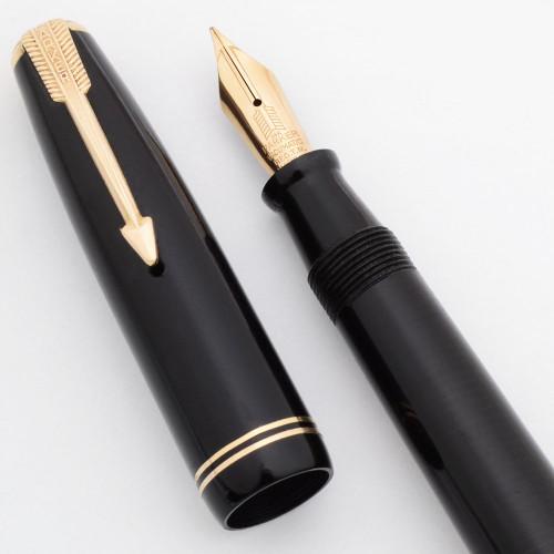Parker Vacumatic Long Junior Fountain Pen (Canada 1946) -  Black w/GP Trim, 14k Flexible Parker Vacumatic Nib (Excellent,  Restored)
