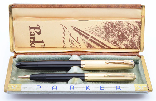 Parker 51 Vacumatic Fountain Pen Set (Canada, 1948) -  Black w/Gold Cap, Medium + Nib (Excellent + in Box, Restored)