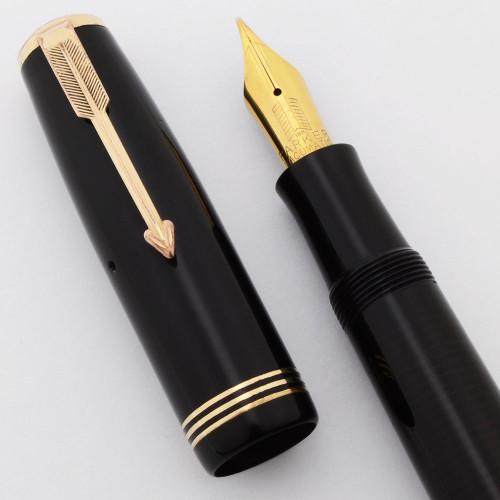 Parker Vacumatic Oversize Fountain Pen (Canada, 1937) - Black w/GP Trim, Lock Down,  18k Flexible Medium Nib  (Excellent +, Restored)