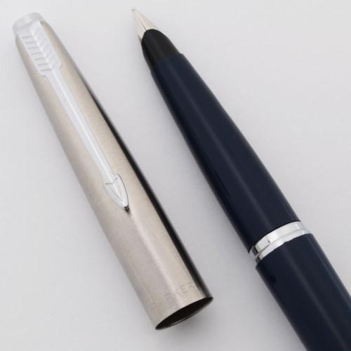Parker 45 Classic Fountain Pen (1967-70) - Blue Body, Flighter Cap w Chrome Trim, Fine Steel Nib (Excellent, Works Well)