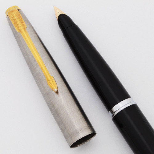 Parker 45 Classic Fountain Pen (post-1970)  -  Black, Steel Cap w/Gold Trim, Medium 14k Nib (Excellent, Works Well)