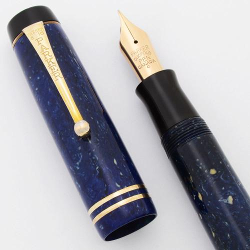 Parker Duofold Senior Fountain Pen  (Canada, 1930s)  - Streamline, Lapis w/ GP Trim, Button Filler,  Medium Fine Duofold Canada Nib  (Excellent, Restored)