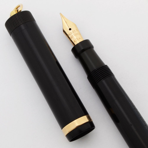 Parker Jack Knife Lucky Curve Fountain Pen (1920s/30s) - Ring Top, Black Lined, Button Filler, A3X Flexible Nib (Excellent, Restored)