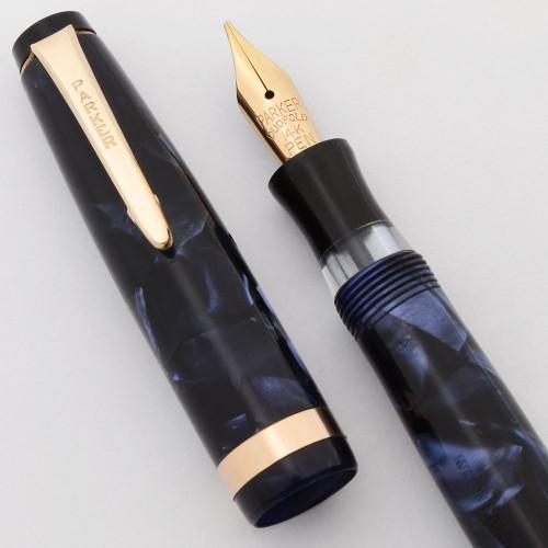 Parker Challenger Fountain Pen (Canada, 1937) - Blue Marble, Button Filler, Medium 14K Flexible Nib (Excellent, Restored)