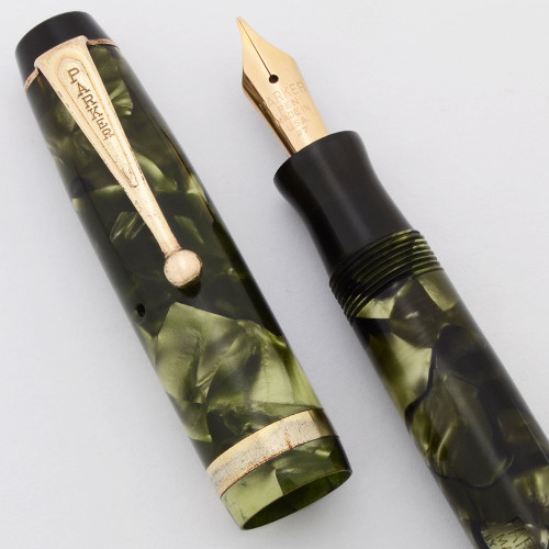 Parker Challenger Full Size (1936)- Green Marble, Button Fill, Medium Nib (Very Nice, Works Well)