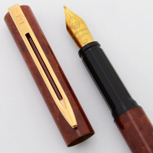 Waterman ProGraduate Fountain Pen (1980s) - Brown Lacquer w/GP Trim,  Medium Gold Nib (Near Mint, Works Well)