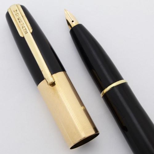 Waterman Taperite Citation Fountain Pen (1940s) - Black, Medium Taperite Nib (Excellent, Restored)