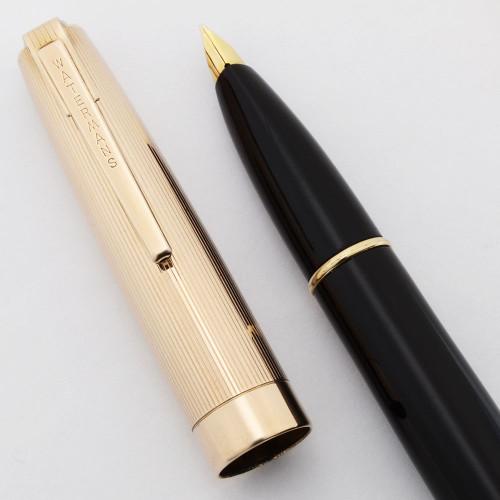 Waterman Stateleigh Fountain Pen  (1950s) - Black, Gold Plated Lined Cap, 14k Medium Taperite Nib (Superior, Restored)