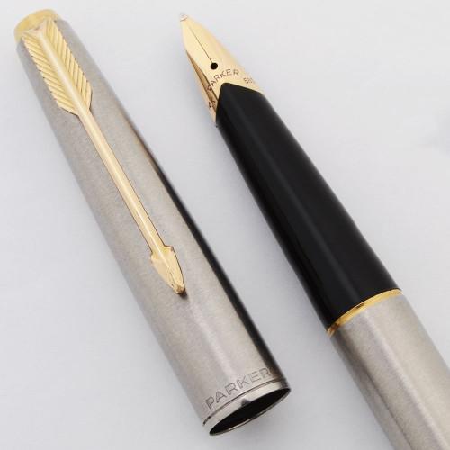 Parker 65 Flighter Deluxe Fountain Pen (UK, 1975-82) - Brushed Steel, GP Trim, Broad 14k Nib (Excellent, Works Well)