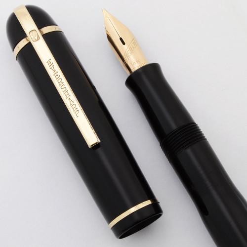 Eversharp Skyline Fountain Pen (1940s) - Black Cap & Barrel, Lever Filler, Medium Flexible 14k Nib (Excellent, Restored)