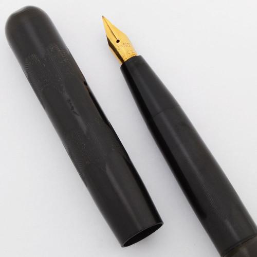 Evans Hump Filler Fountain Pen (1920s) - BCHR, Crescent-Like Filler, Flexible Fine 14k Nib (Excellent +, Restored)