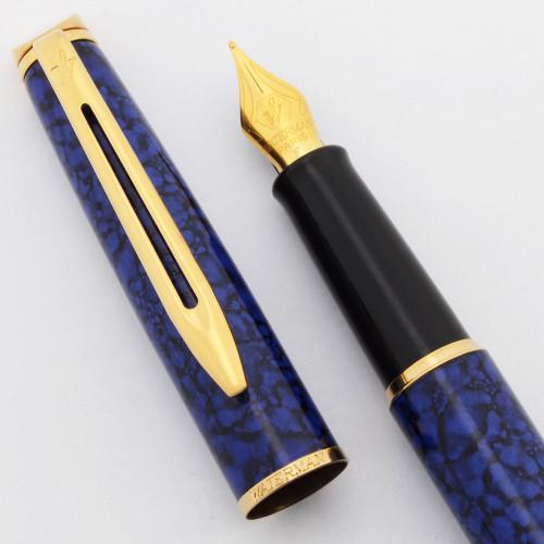 Waterman Hemisphere Fountain Pen - Blue Marble Lacquer w/GP Trim, Fine  Nib (Near Mint, Works Well)