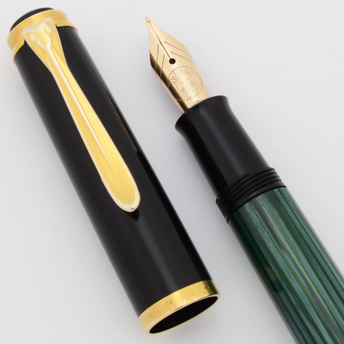 Pelikan M400 Fountain Pen (Old Style 1982-97) - Green and Black, 14k Fine Nib (Excellent, Works Well)