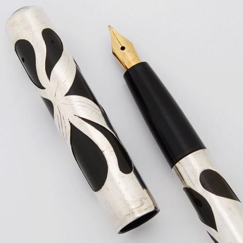 Unknown Eye Dropper Pen - Sterling Filigree, Flexible Fine Warranted 14k Nib (Very nice condition, Restored)