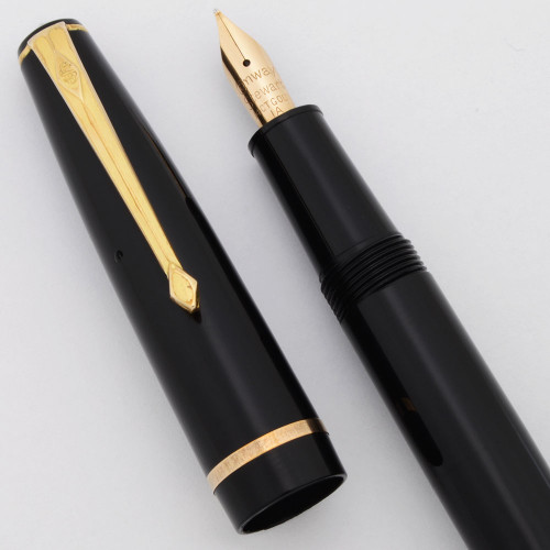 Conway Stewart 150 Fountain Pen (1960s) -  Black, Aerometric Fill,  Fine 14k Nib (Excellent, Works Well)
