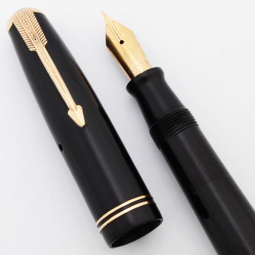 Parker Vacumatic Junior Fountain Pen (1945)  - Black w/GP Trim, Fine 14k Nib (Excellent, Restored)