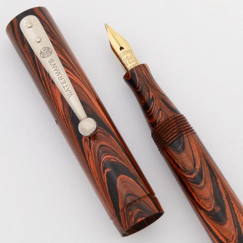 Waterman 51 V Fountain Pen (Uncommon) - Red Ripple Hard Rubber with NP Trim, Fine Flexible Nib (Superior, Restored)
