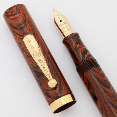 Waterman 56 Red Ripple (1920s, USA) - Extra-Fine Flexible Nib (Excellent, Restored)