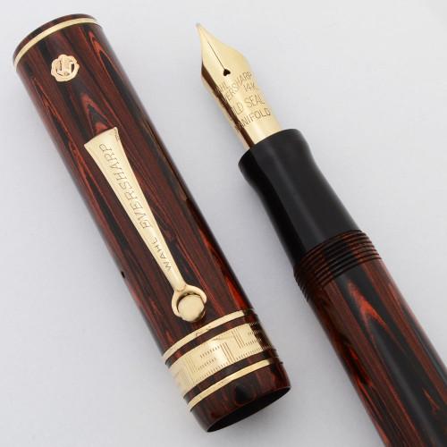 Eversharp Decoband Oversize Fountain Pen (1930s) -  Rosewood,  Lever Filler,  14k Manifold Nib (Excellent +, Restored)