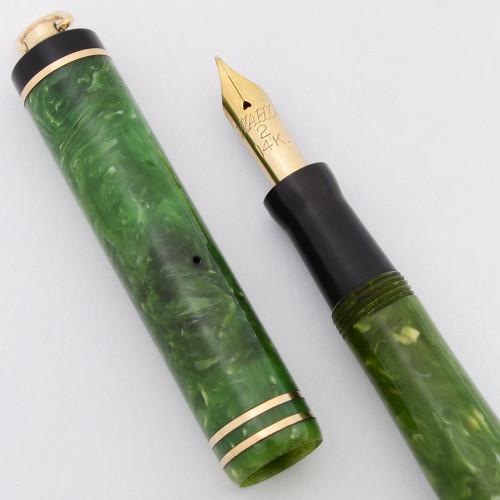 Wahl #2 Fountain Pen (1920s) - Ring Top, Jade Celluloid, Lever Filler,  Fine 14k #2 Nib (Excellent +, Restored)