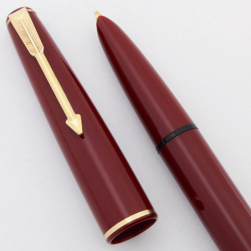Parker 17 Fountain Pen (England, mid-1960s) - Burgundy w/Gold Trim,  Aerometric, Fine Hooded Nib (Excellent, Works Well)