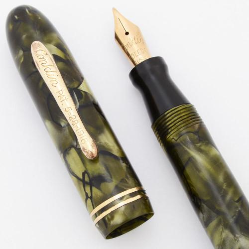 Conklin Three-Fifty Fountain Pen (1930s) - Green Marble, Lever Filler, Toledo Fine Nib (Excellent, Restored)