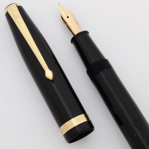 Conway Stewart 85L Fountain Pen (1950s) - Black w/Gold Trim, Lever Filler,  Medium Flexible 14k Nib (Excellent, Restored)