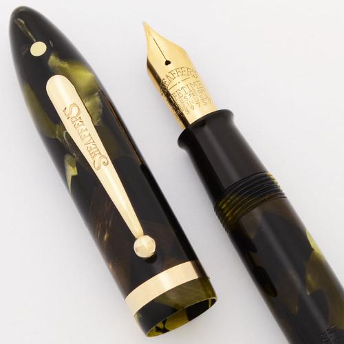 Sheaffer Balance Lifetime Oversize Fountain Pen (1930s) - Green Marble w Gold Trim, Lever Filler, 14k Fine Lifetime Nib (Excellent +, Restored)