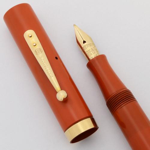 Waterman 52 Fountain Pen - Cardinal Red Hard Rubber, Ideal Flex Fine (Superior, Restored)