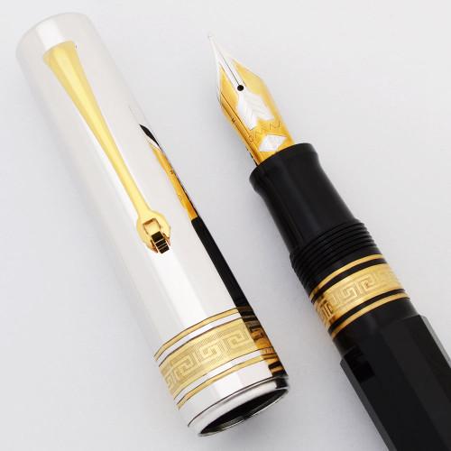 "Omas Arte Italiana ""Precious Facets"" Paragon Fountain Pen - Black w Sterling Cap, Piston Fill, 18k Medium (New Old Stock w Small Pitting on Cap, Works Well)"