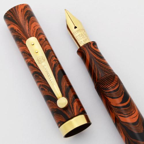 Waterman 55 Fountain Pen - Red Ripple Ebonite, Fine Flexible #5 Nib (Superior, Restored)