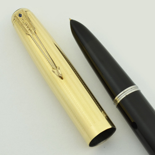 Parker 51 First Year Fountain Pen - High Cap Imprint, Wavy Line Cap, Black (Rare, Restored)