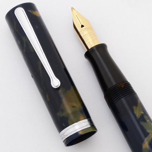 Waterman 94 Fountain Pen (1930s) - Blue & Cream Celluloid,  Lever Filler, Flexible Fine Ideal #4 Nib (Excellent, Restored)
