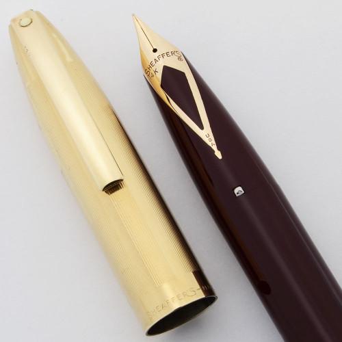 Sheaffer PFM V Fountain Pen (1959-1960s) - Burgundy w Gold Filled Cap, 14k Fine Nib (Excellent, Restored)