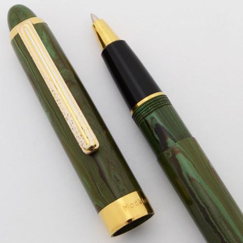 Recife Modele Depose Rollerball Pen (1990s/2000s) - Green Ripple Ebonite  (Very Nice, Works Well)