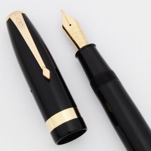 Conway Stewart 100 Fountain Pen (1950s) - Black,  14k Flexible Medium Left Oblique Duro Nib (Excellent, Restored)
