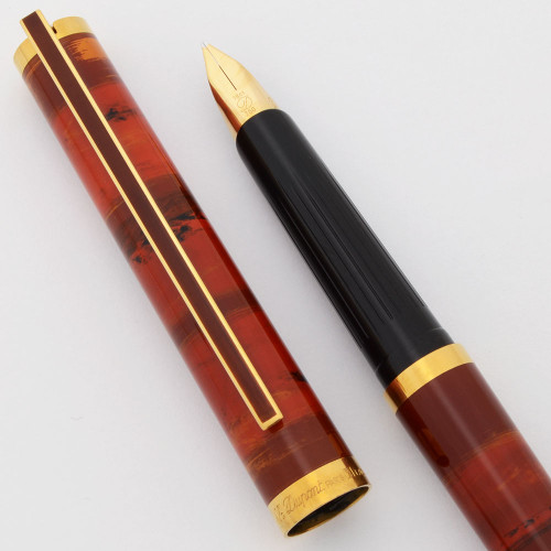 S T Dupont Classique Fountain Pen (1980s) - Red Banded Lacque de Chine, C/C, 18k Broad (Excellent + in Box, Works Well)