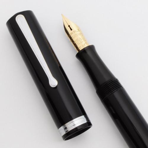 "Waterman 5 Fountain Pen - Black Celluloid, Nickel Trim, Firm Ideal ""Purple"" Nib (Superior, Restored)"