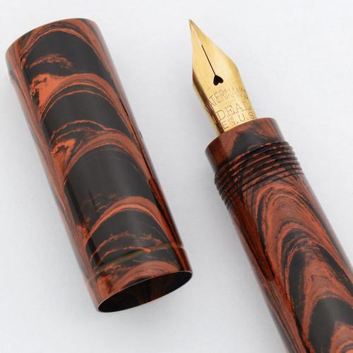 Waterman 42 Safety Pen - Red Ripple Hard Rubber, Fine Waterman Ideal Flexible Nib (Superior, Restored)