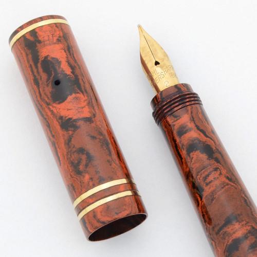 Wahl Hard Rubber Safety Pen (Very Rare) - Red Mottled Hard Rubber, Fine 18k Flexible Nib (Excellent +, Restored)