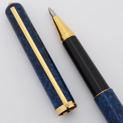 Elysee 80 Line Rollerball Pen - Blue Speckled Lacquer, Gold Plated Trim (Near Mint, Works Well)
