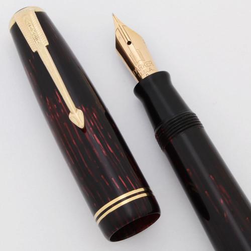 Parker Vacumatic Shadow Junior Wave Fountain Pen (1941) - Double Jewel, Red Striated, Speedline Filler, Fine Nib (Excellent +, Restored)