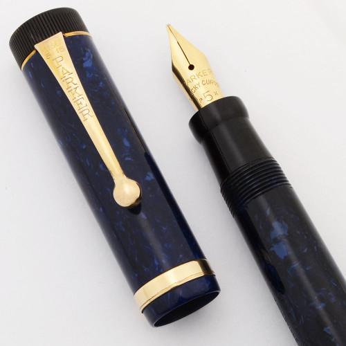 Parker Duofold Junior Fountain Pen (1930s) - Blue on Blue Lapis, Flexible P5X Nib (Excellent, Restored)