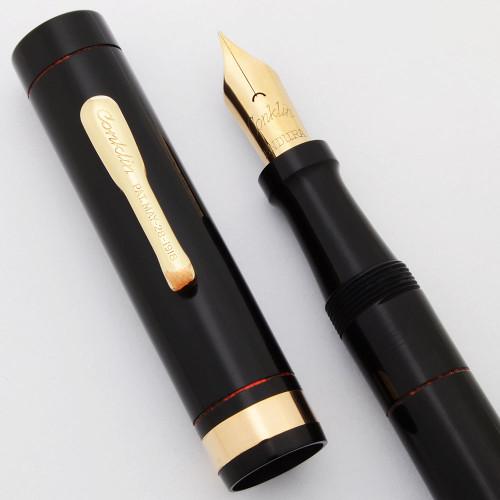 Conklin Endura Crescent Oversize Fountain Pen  (1920s) - Black Hard Rubber, Uncommon,  Fine Nib (Superior, Restored)
