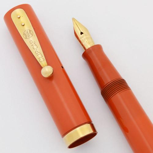 Waterman 52X Fountain Pen (Rare, 1920s)  - Cardinal Red Hard Rubber, Medium Manifold Nib (Excellent + Restored)