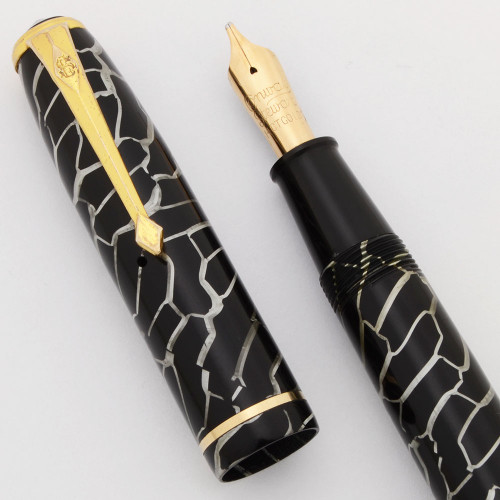 Conway Stewart 28 Fountain Pen (1950s) - Cracked Ice, Lever Filler, Left Oblique 14k Nib (Excellent, Restored)