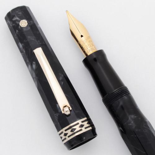"Wahl Doric Oversize Fountain Pen - ""Burma Pearl,"" Lever Fill, Flexible Broad 14k Nib (Excellent +, Restored)"