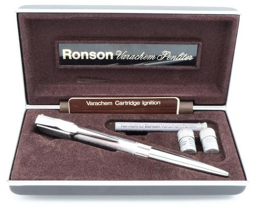 Ronson Vintage Varachem Penliter (UK, 1976) - Chromium Plate, Non-Working  (Excellent in Box w Accessories)